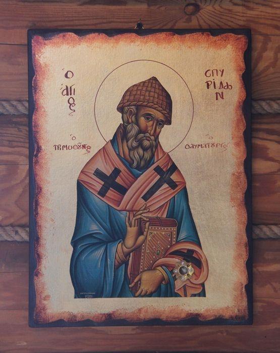 Икона с частицей мощей святителя Спиридона Тримифунтского